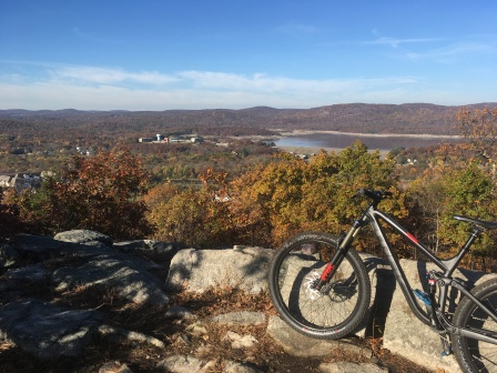 Mountain biking past the same place I proposed to my girl, one year after the fact.